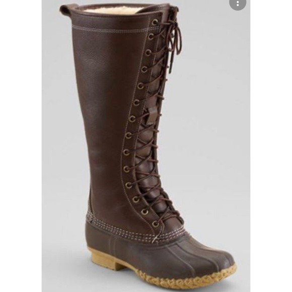 L.L. Bean Signature Shearling Tall Boots lace up 6